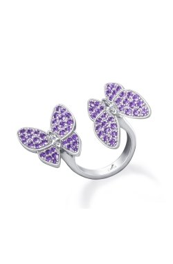 Открытое серебряное кольцо бабочки n.11 из родированного серебра 925-й пробы с куб. циркониями (32923 5)