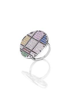 Серебряное кольцо калейдоскоп эмоций из родированного серебра 925-й пробы с куб. циркониями альпинитом (1 909 )