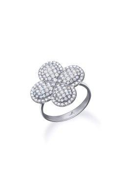 Серебряное кольцо гламур из родированного серебра 925-й пробы с куб. циркониями (1 659 )