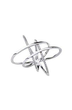 Серебряное кольцо орбита из родированного серебра 925-й пробы с куб. циркониями (1 343 )