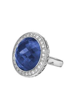 Серебряное кольцо шейла n.2 из родированного серебра 925-й пробы с куб. циркониями сапфиром (1 3 2 2)