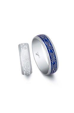 Серебряное кольцо с белой эмалью из родированного серебра 925-й пробы ( 128 2)