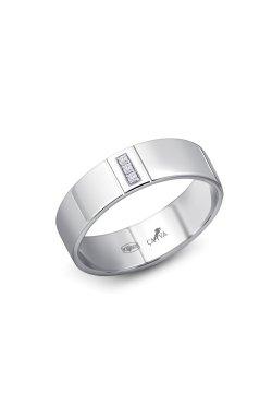 Гладкое серебряное кольцо с бриллиантами утончённость из родированного серебра 925-й пробы с бриллиантом (151364 )
