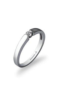 Серебряное кольцо с бриллиантом принц из родированного серебра 925-й пробы с бриллиантом (150309 )