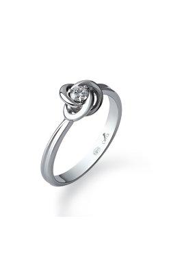 Серебряное кольцо с бриллиантом бриллиантовый цветок из родированного серебра 925-й пробы с бриллиантом (150059 )