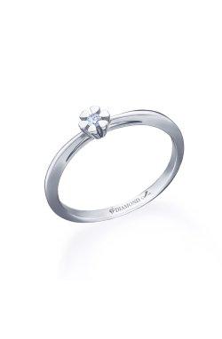 Серебряное кольцо с бриллиантом нота сердца из родированного серебра 925-й пробы с бриллиантом (151363 )
