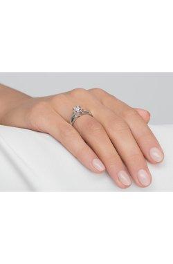 Серебряное кольцо сердце любви из родированного серебра 925-й пробы с куб. циркониями (1 060 )