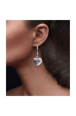 Серебряные серьги с бриллиантами открытое сердце cava.cool из родированного серебра 925-й пробы с бриллиантом (251354 )