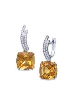Серебряные серьги желтый цитрин cava.cool из родированного серебра 925-й пробы с куб. циркониями цитрином (2 954 )