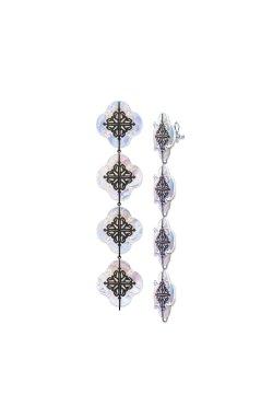 Серебряные серьги luxury kit cava.cool из родированного серебра 925-й пробы с куб. циркониями (2 371 )