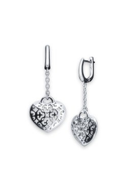 Серебряные серьги открытое сердце cava.cool из родированного серебра 925-й пробы ( 1354 )