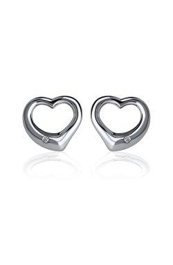 Серебряные серьги пусеты с бриллиантами сердца cava.cool из родированного серебра 925-й пробы с бриллиантом (251046 )