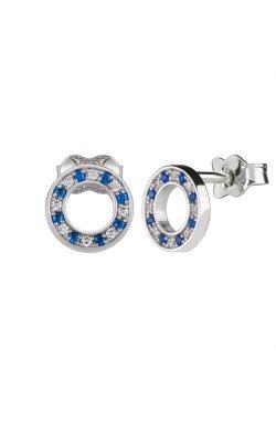 Серебряные серьги пусеты кружок с цирконием n.2 cava.cool из родированного серебра 925-й пробы с куб. циркониями (2 4 2 1)