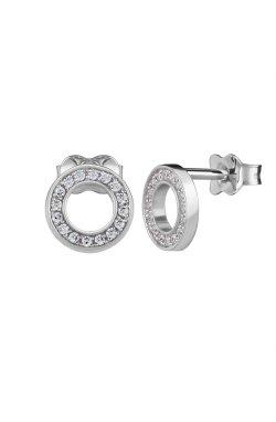 Серебряные серьги пусеты кружок с цирконием n.1 cava.cool из родированного серебра 925-й пробы с куб. циркониями (2 4 )
