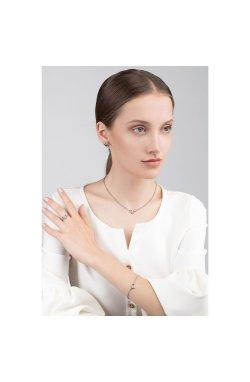 Серебряные серьги пусеты с бриллиантами музыка любви cava.cool из родированного серебра 925-й пробы с бриллиантом (251394 )