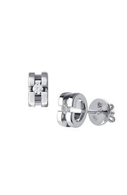 Серебряные серьги пусеты с бриллиантами изящность cava.cool из родированного серебра 925-й пробы с бриллиантом (25 56 )