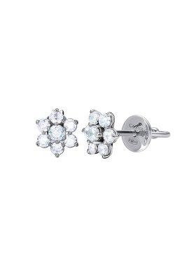 Серебряные серьги пусеты снежинки n.1 cava.cool из родированного серебра 925-й пробы с куб. циркониями (2 599 )