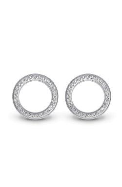 Серебряные серьги пусеты кольца cava.cool из родированного серебра 925-й пробы с куб. циркониями ( 30 )