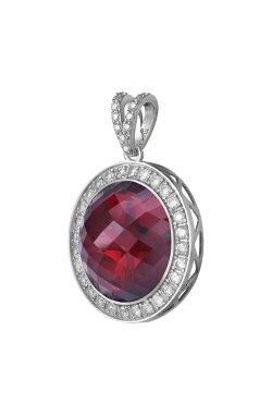 Серебряный кулон шейла с синт. красным корундом cava.cool из родированного серебра 925-й пробы с куб. циркониями корундом (3 3 2
