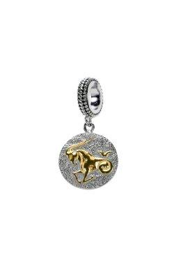 Серебряный шарм подвеска знак зодиака козерог из родированного серебра 925-й пробы (311253 )