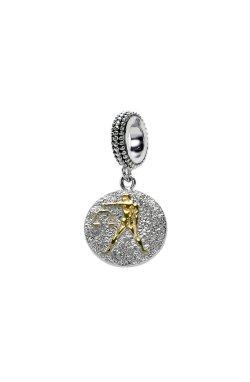 Серебряный шарм подвеска знак зодиака весы из родированного серебра 925-й пробы (31124 2)