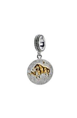 Серебряный шарм подвеска знак зодиака телец из родированного серебра 925-й пробы (311250 )