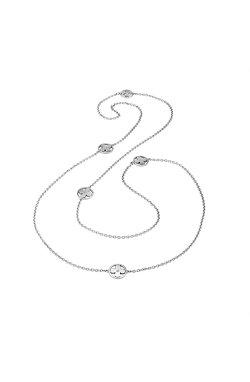 Серебряное колье клевер из родированного серебра 925-й пробы с куб. циркониями (6 3 )