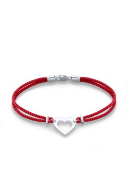 Красный шелковый браслет феничка с сердечком серебро из родированного серебра 925-й пробы (511453 )