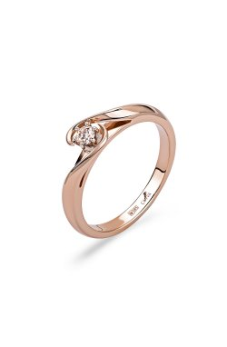 Золотое кольцо с топазом для помолвки из красного золота 585-й пробы (1410343)