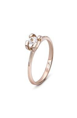 Золотое кольцо на помолвку с белым топазом из красного золота 585-й пробы (14 723)