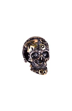 Серебряная бусина шарм череп из родированного серебра 925-й пробы (31126 2)