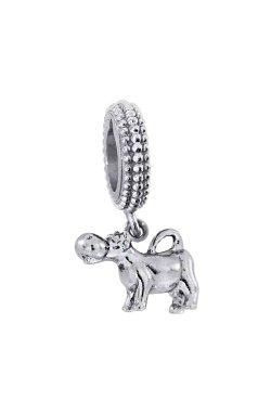 Серебряный шарм бычок из родированного серебра 925-й пробы (311 2)