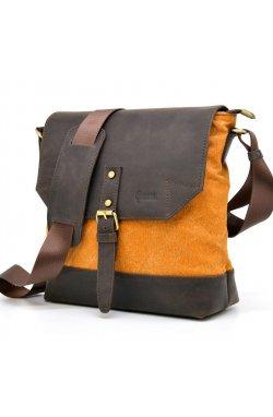 Сумка-мессенджер через плечо микс ткани канвас и кожи RY-1307-4lx TARWA Оранжевый с коричневым