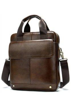 Вертикальная сумка мужская Vintage 14877 Коричневая, Коричневый