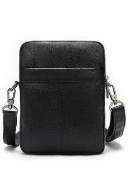 Компактная мужская сумка кожаная Vintage 14885 Черная, Черный