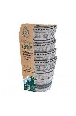 Набор из 4-х стаканов Eco SouLife - Sipper Cup 4pcs Tribal Bliss, 0.248 л (ESL BW14-028-TRB)