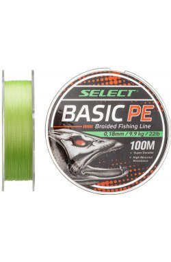 Шнур Select Basic PE 100m (салат.) 0.18mm 22LB/9.9kg
