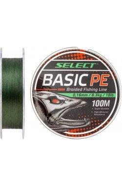 Шнур Select Basic PE 100m (темн-зел.) 0.16mm 18LB/8.3kg
