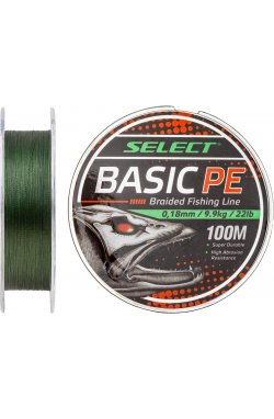 Шнур Select Basic PE 100m (темн-зел.) 0.18mm 22LB/9.9kg