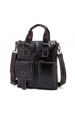 Кожаная вертикальная деловая сумка с двумя ручками Joynee B10-259 Коричневый