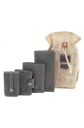 Эксклюзивный набор из стильных кожаных аксессуаров SHVIGEL 10079, Черный