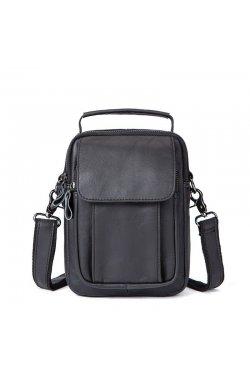 Кожаная мужская сумка через плечо B10-7910 Черный