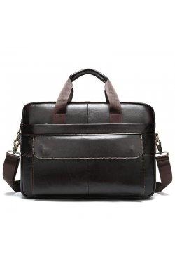 Удобная кожаная повседневная сумка B10-1115 Coffee Coffee - кофейный