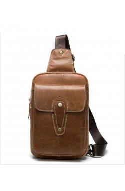 Мини-рюкзак кожаный на одно плечо B10-8573 Joynee Coffee - кофейный