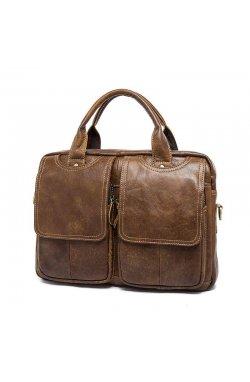 Удобная кожаная мужская сумка B10-8002 коричневая Коричневый