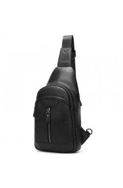 Мини-рюкзак кожаный на одно плечо, черный B10-5007 Joynee Черный