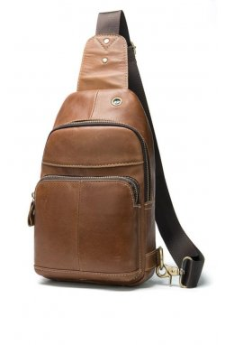 Мини-рюкзак кожаный на одно плечо B10-8575 Joynee Коричневый