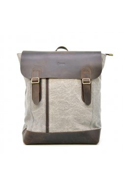 Рюкзак городской, парусина+кожа RGj-3880-4lx бренда TARWA Светло-серый/коричневый