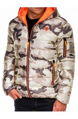 Kurtka męska zimowa pikowana C367 - Моро/оранжевый