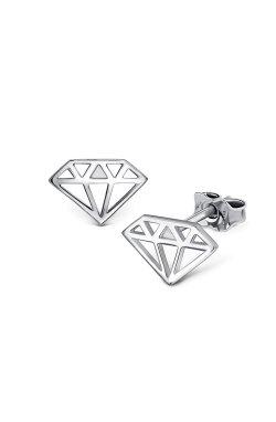Пусеты бриллиант из серебра из родированного серебра 925-й пробы ( 94 )